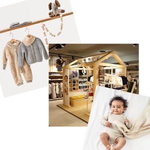 """Alle Ladenbauelemente des """"Sweet Home""""-Konzepts sind nach dem ganzheitlichen Ansatz von Hessnatur aus nachhaltig produzierten Materialien entsprechender Richtlinien und Standards des Unternehmens ausgesucht worden."""