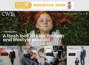 Homepage von CWB - wirbt nicht mehr für die Bubble London, sondern die IndX Kidswear.