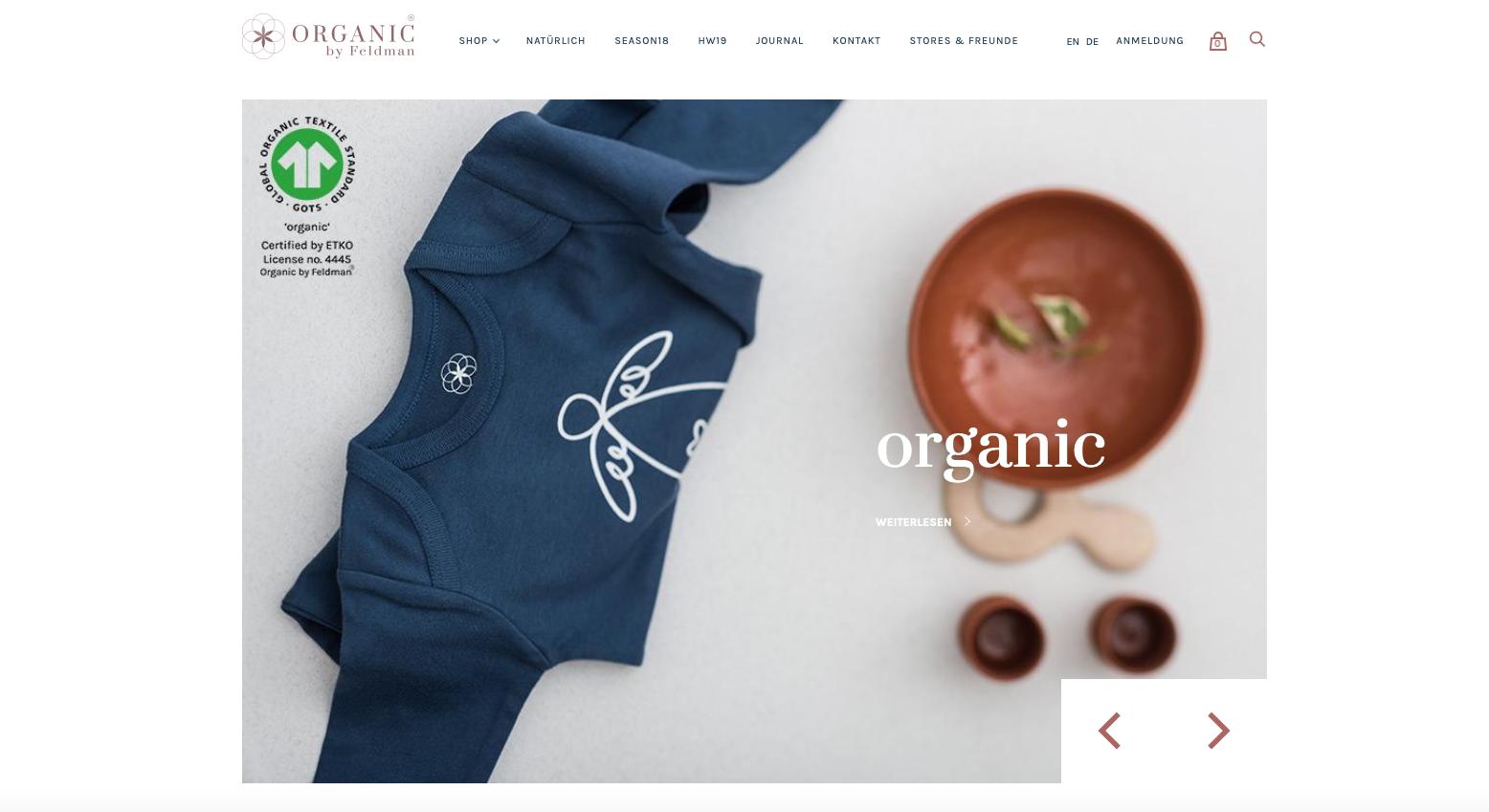 Stolz wirbt das Label auf seiner Website www.organicbyfeldman.eu mit dem GOTS-Logo.