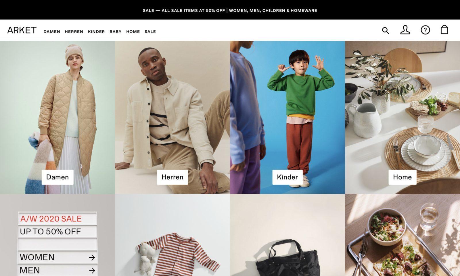 Screenshot der Marke Arket Kids