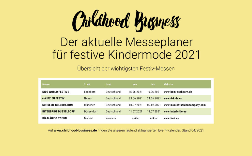 Termine der festiven Ordermessen für Kinder in 2021