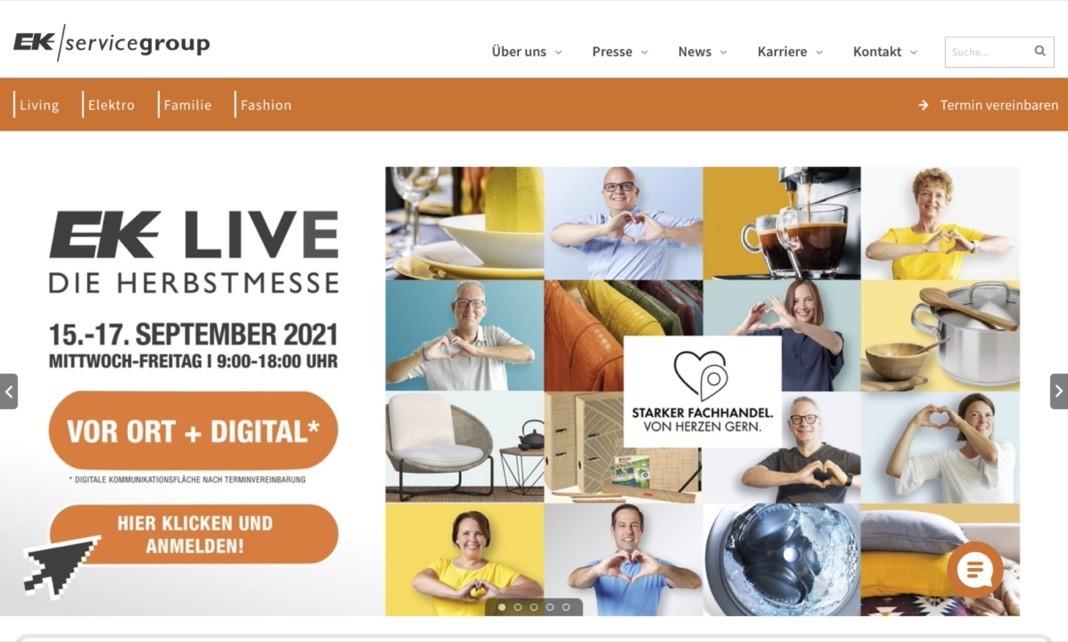 Screenshot der Marke EK Servicegroup
