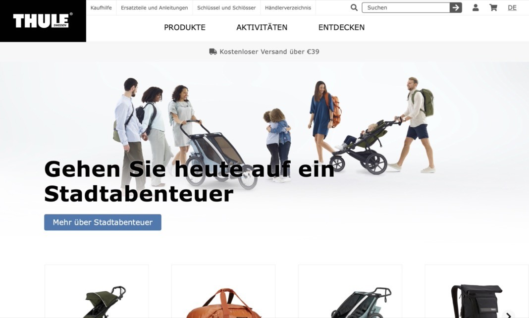 Screenshot der Marke Thule